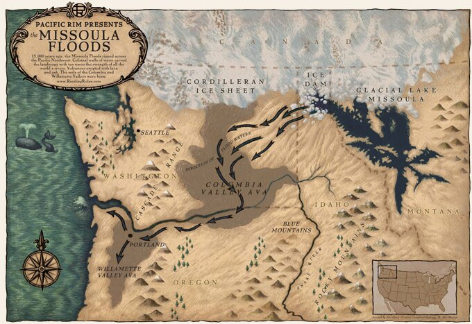Map of the Missoula Flood that Formed the Columbia Valley